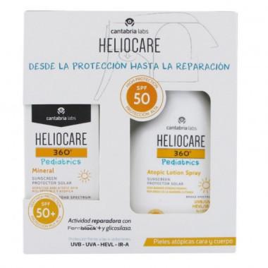 Heliocare Pack Pediátrico con 360º Atopic Lotion Spray SPF50 250ML  y 360º Mineral Pediatrics Spf 50+ 50ML  CANTABRIA LAB