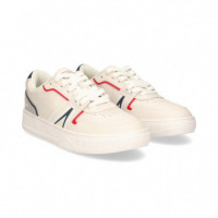 Deportivo Blanco Lineas Navy/red  LACOSTE