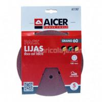 Pack 5 Lijas 180MM GR60 Velcro AICER