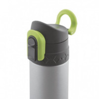 TERMO 500 ML DOBLE PARED DE ACERO INOXIDABLE GRIS Y VERDE JATA
